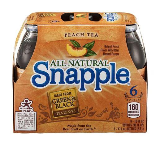 Buy Snapple Tea, Peach, Glass Bottles - 6 Each Online ...