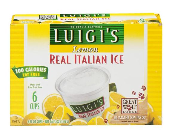 Buy Luigis Italian Ice, Real, Lemon - 6 Each Online | Mercato